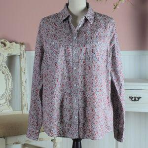 Sonoma Long Sleeve Floral Button Down Shirt Size L